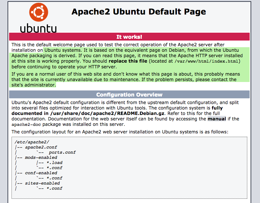 Ubuntu with Apache just installed