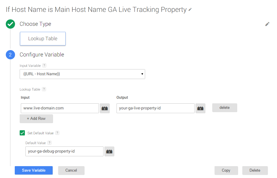 Google Tag Manager Host Name Lookup Table
