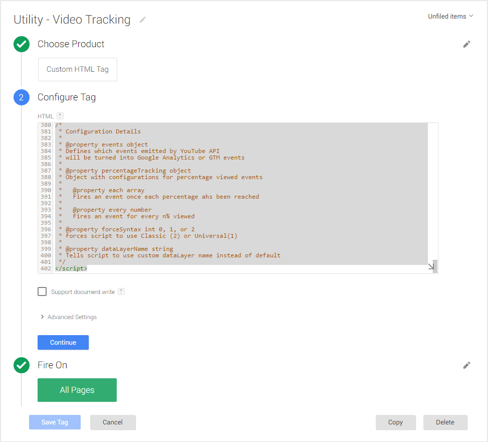 youtube tracking in google tag manager-script