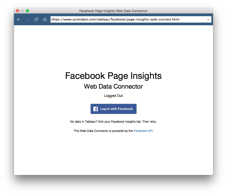 Tableau Facebook Web Data Connector Login